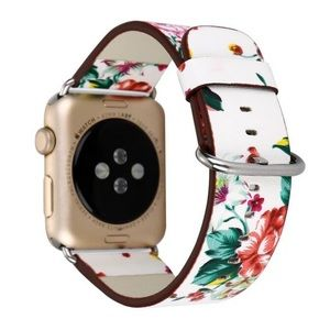 NEW White Floral Vegan Leather Apple Watch Band